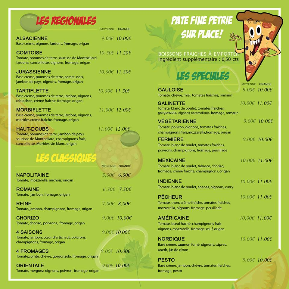 tom tom pizza menu